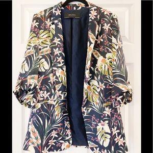 Zara Tropical Palm Blazer Size Small